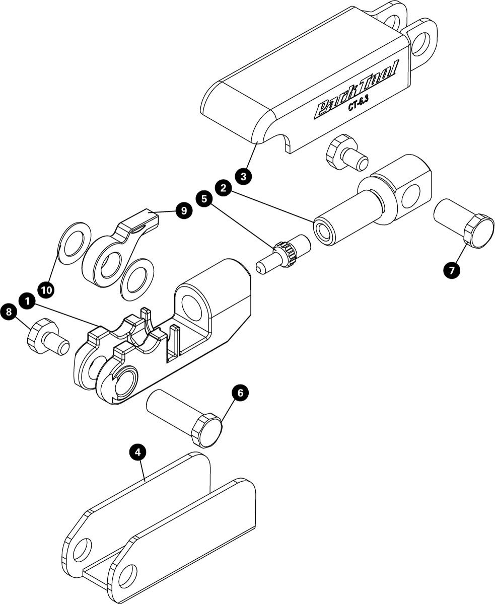 Parts diagram for CT-6.3 Folding Chain Tool with Peening Anvil, click to enlarge
