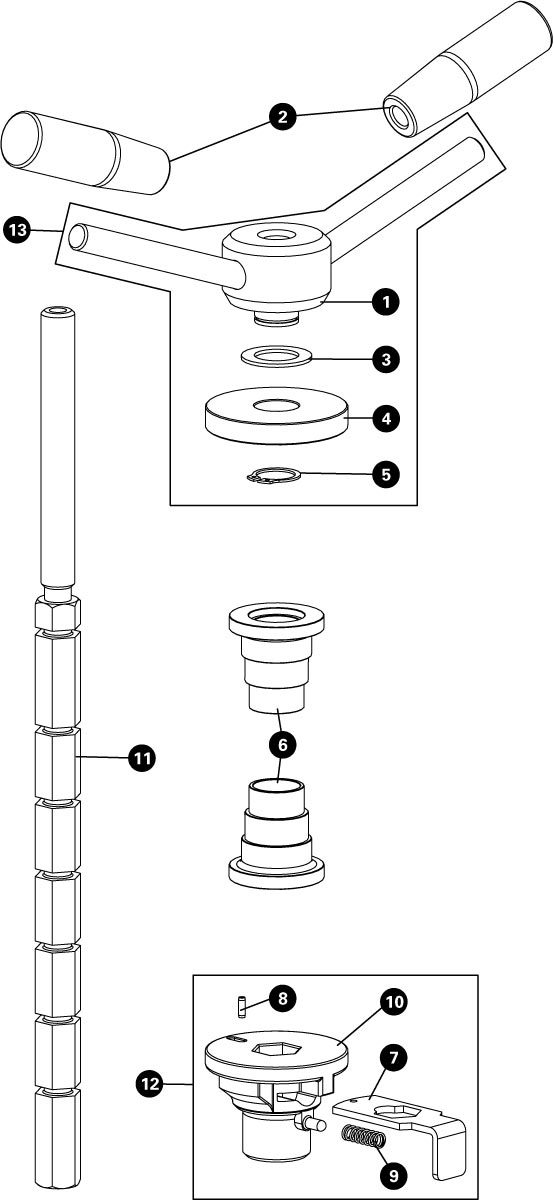 Parts diagram for HHP-2 Bearing Cup Press, click to enlarge
