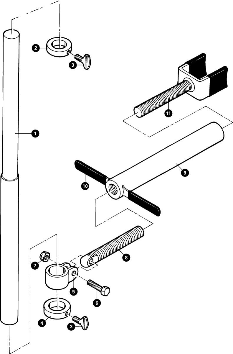 Parts diagram for HTS-1 Head Tube Straightener, click to enlarge