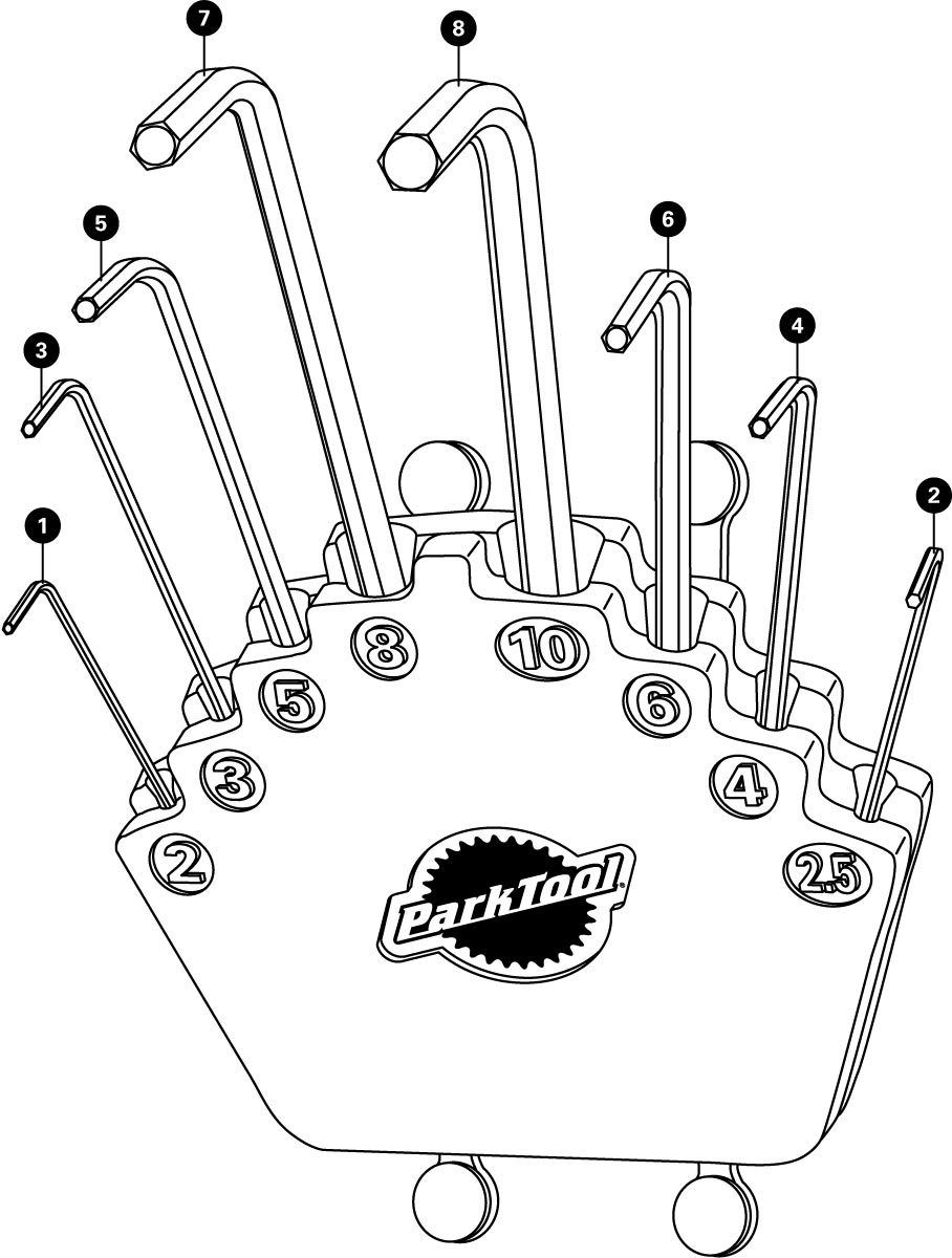 Parts diagram for HXS-2 L-Shaped Hex Wrench Set with Holder, click to enlarge