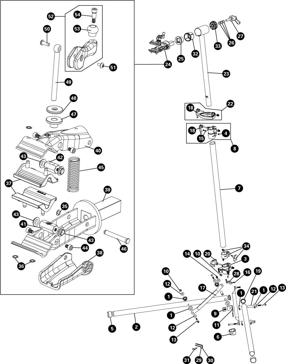 Parts diagram for PCS-10.2 Deluxe Home Mechanic Repair Stand, click to enlarge