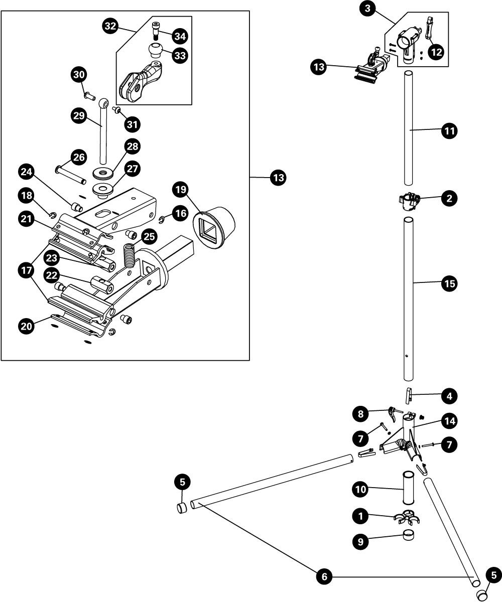 Parts diagram for PCS-10 Home Mechanic Repair Stand, click to enlarge