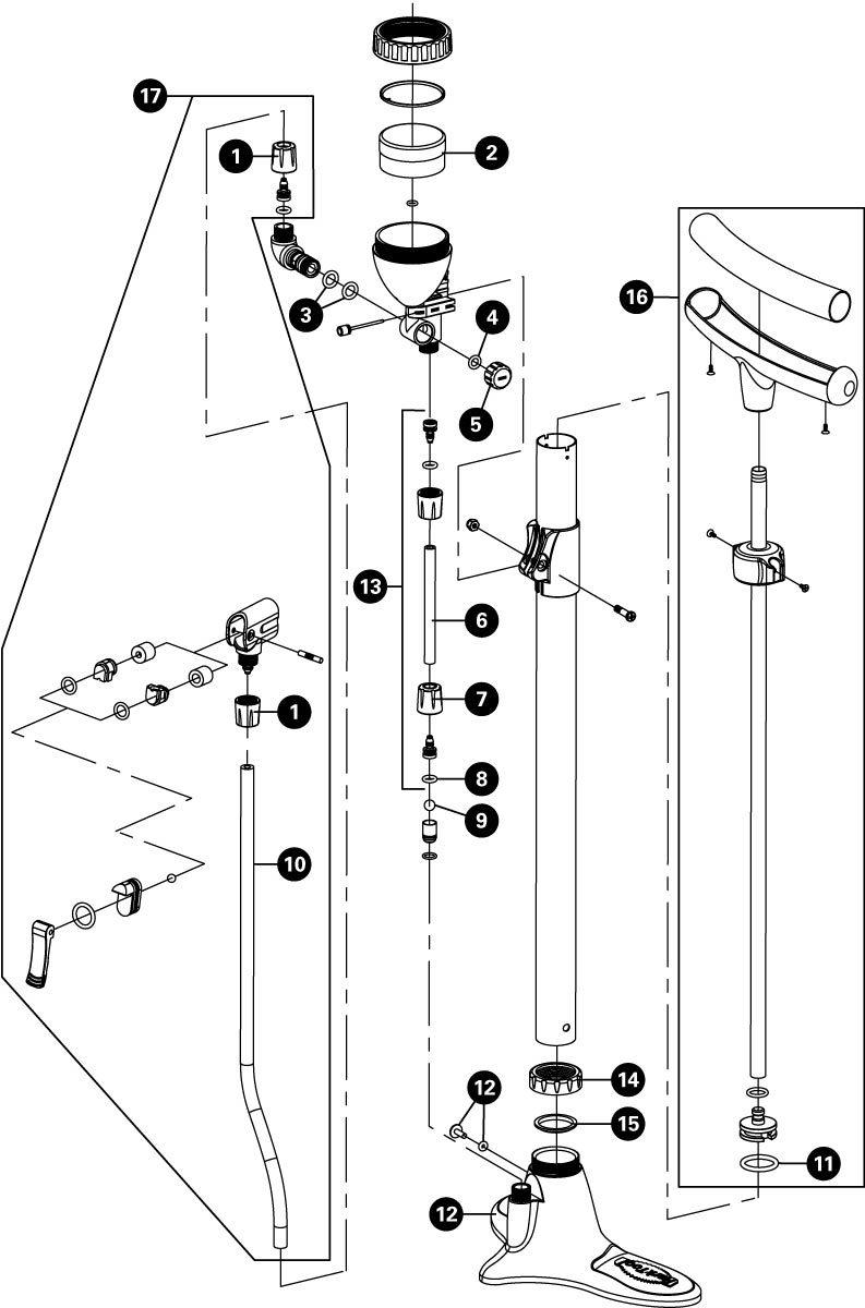 Parts diagram for PFP-3 Home Mechanic Floor Pump, click to enlarge