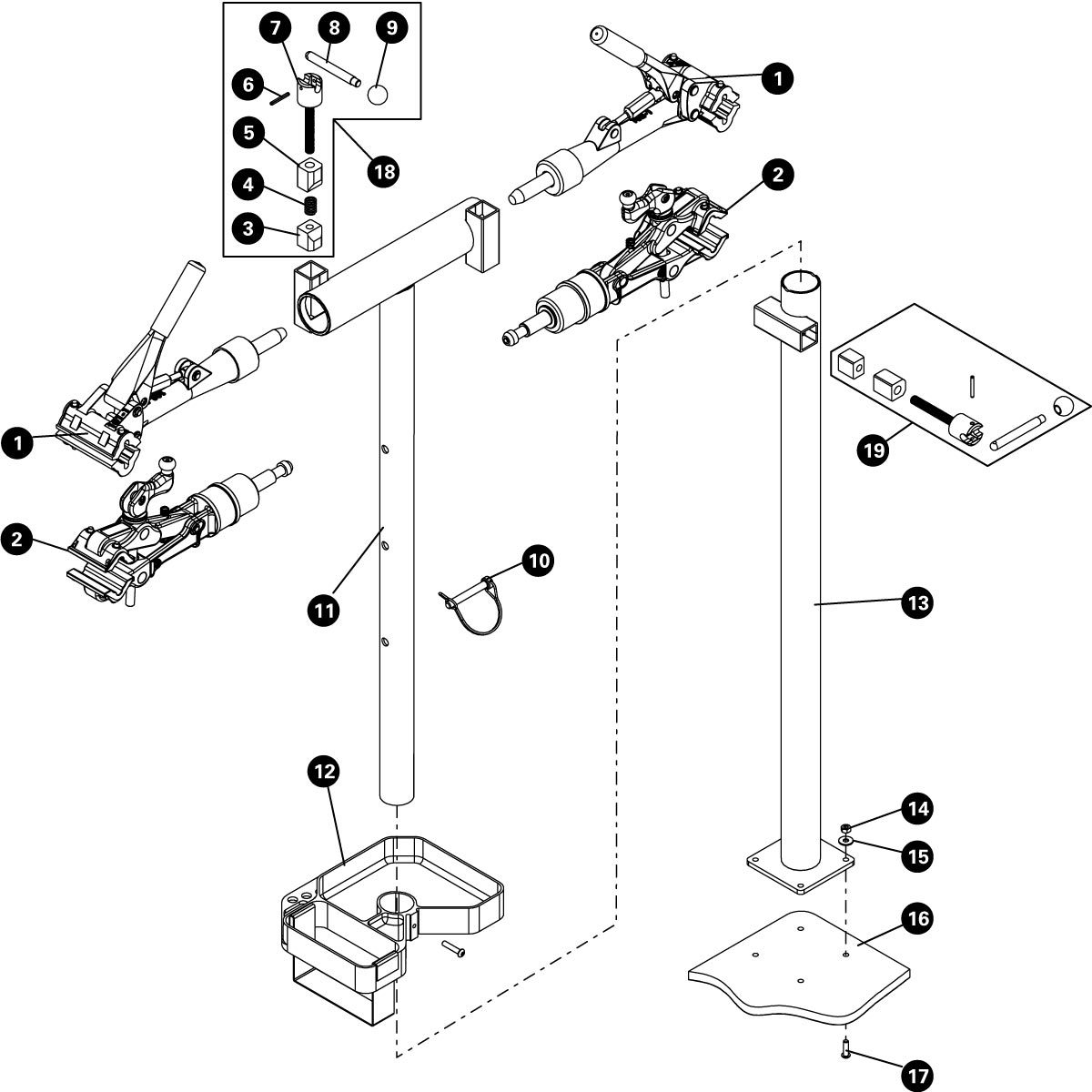Parts diagram for PRS-2 OS-2 Deluxe Double Arm Repair Stand, click to enlarge