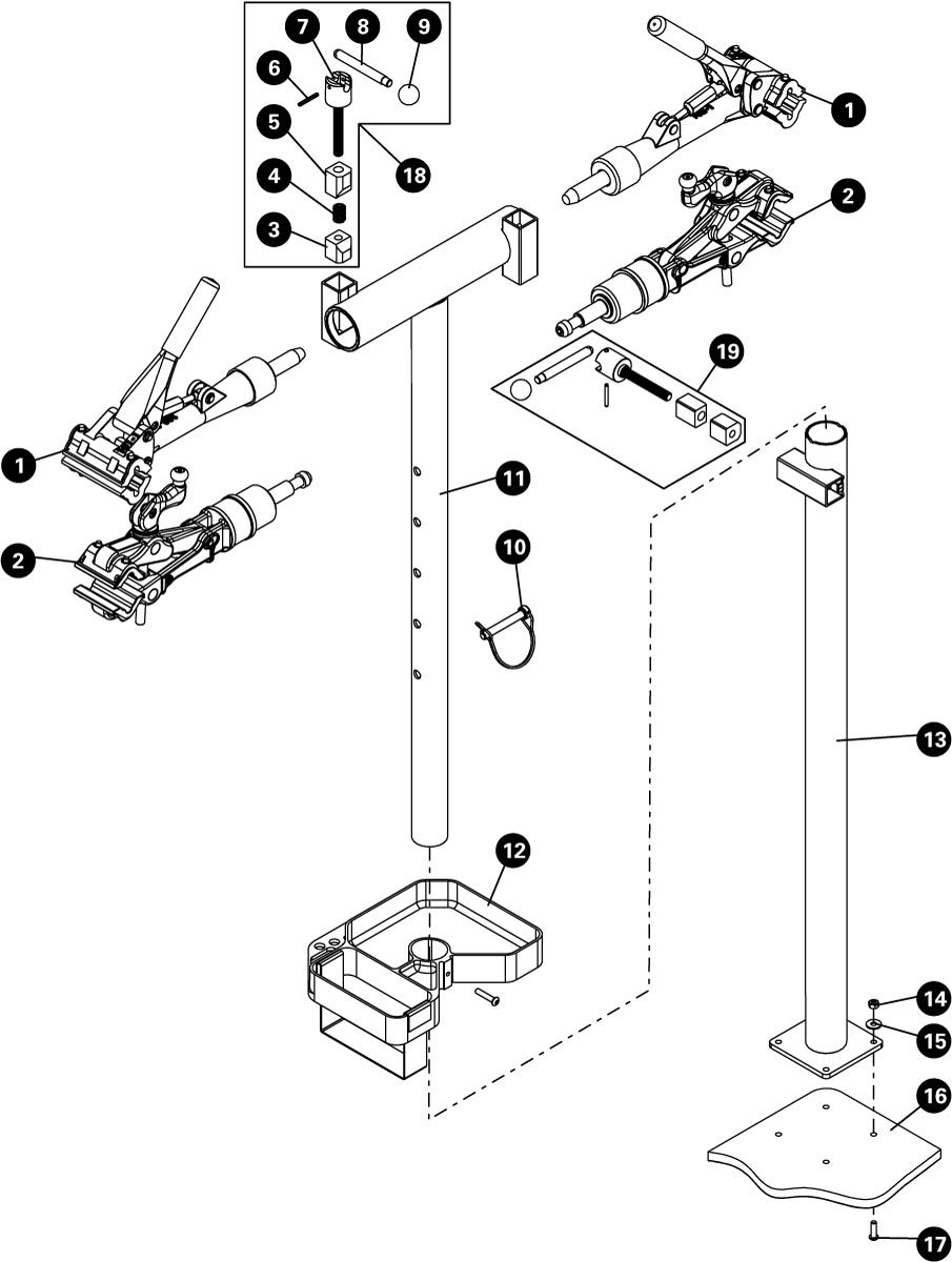 Parts diagram for PRS-2.2-2 Deluxe Double Arm Repair Stand, click to enlarge