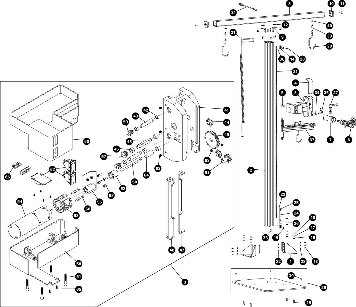 Parts diagram for PRS-33.2 Power Lift Shop Stand, click to enlarge