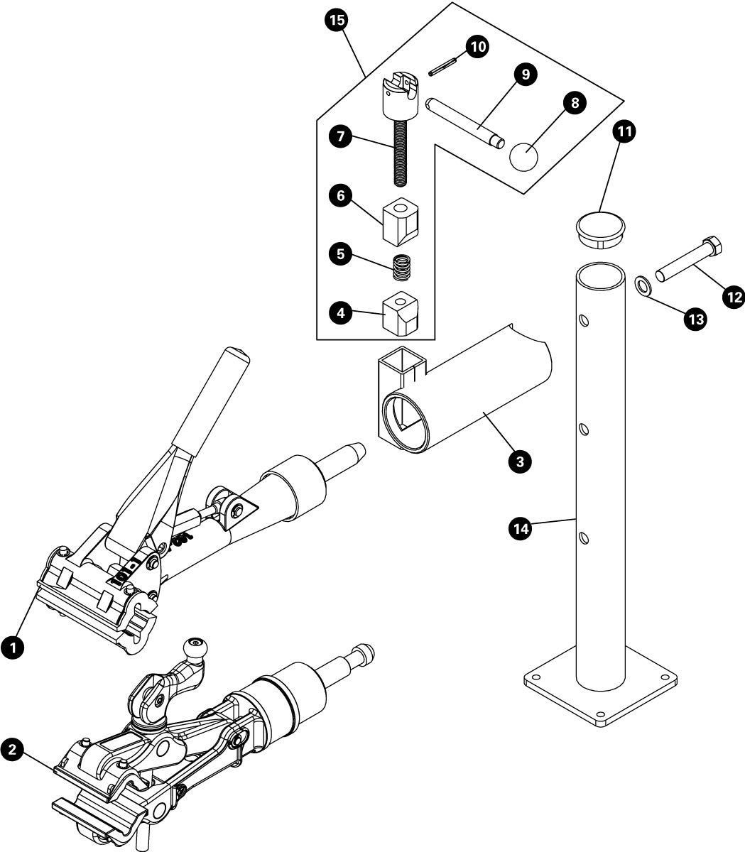 Parts diagram for PRS-4.2-2 Deluxe Bench Mount Repair Stand, click to enlarge