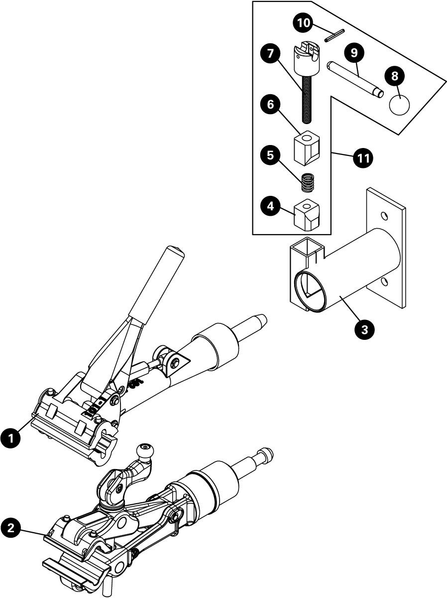 Parts diagram for PRS-4W-2 Deluxe Wall Mount Repair Stand, click to enlarge