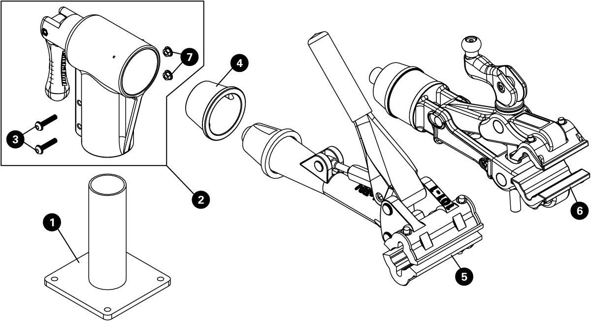 Parts diagram for PRS-7-1 Bench Mount Repair Stand, click to enlarge
