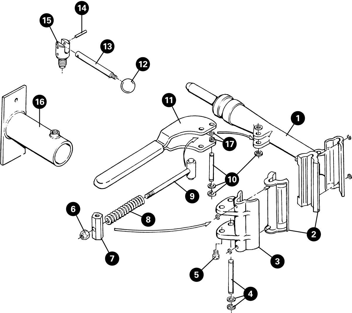 Parts diagram for PRS-8 Wall Mount Repair Stand, click to enlarge