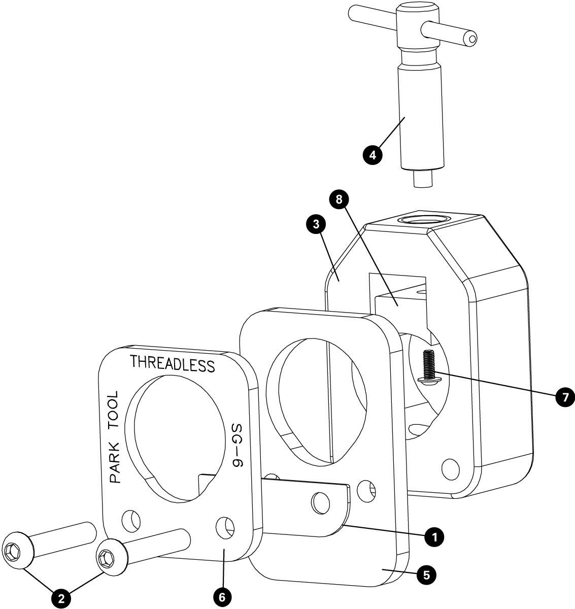 Parts diagram for SG-6 Threadless Saw Guide, click to enlarge