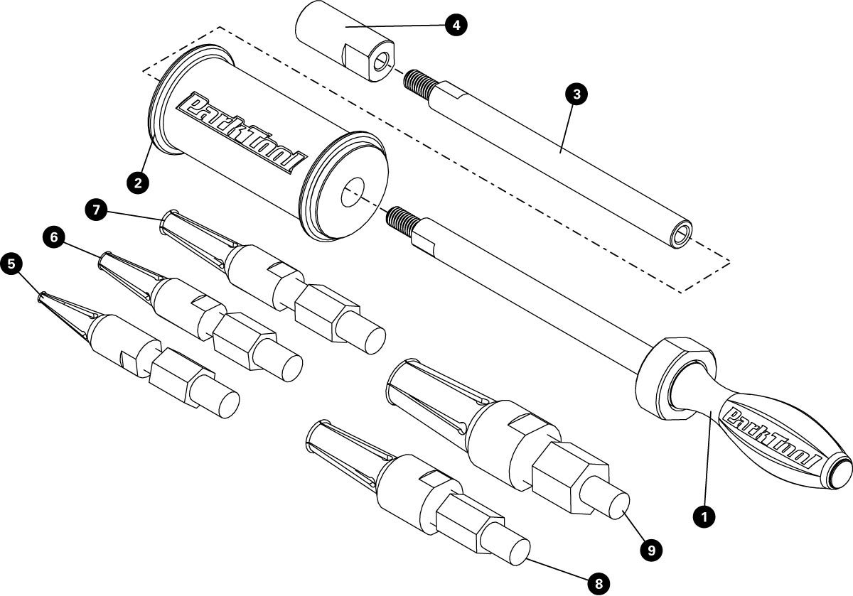 Parts diagram for SHX-1 Slide Hammer Extractor, click to enlarge