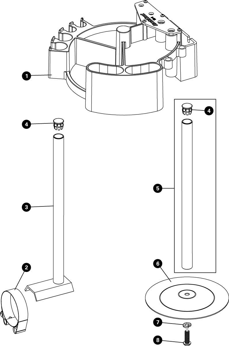 Parts diagram for TK-4 Tool Kaddie with Stand Mount, click to enlarge