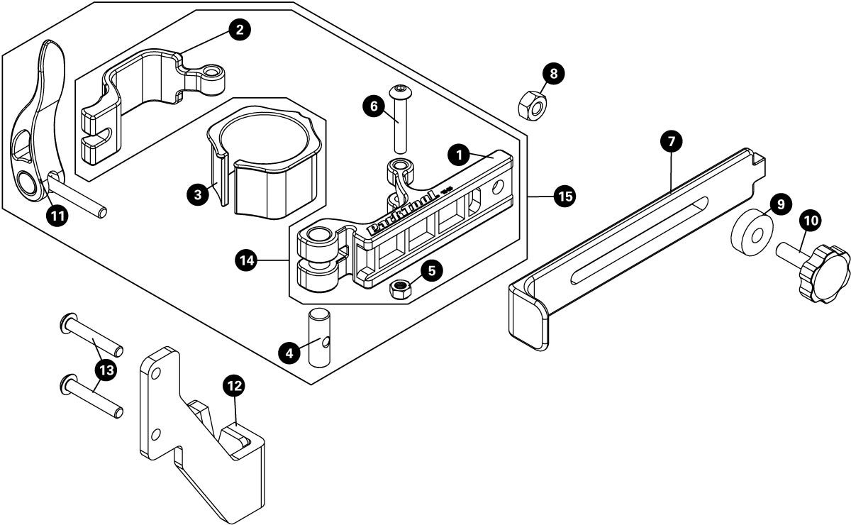 Parts diagram for TS-25 Repair Stand Mounted Wheel Truing Stand, click to enlarge