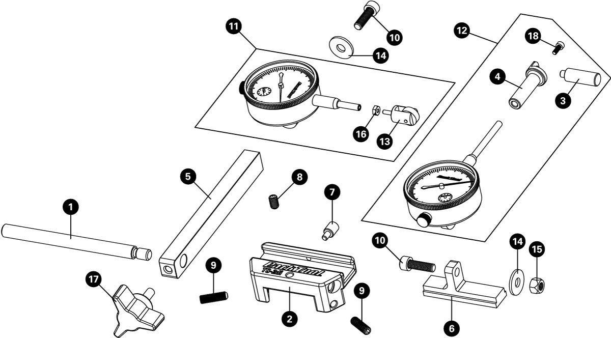 Parts diagram for TS-2Di Dial Indicator Gauge Set, click to enlarge