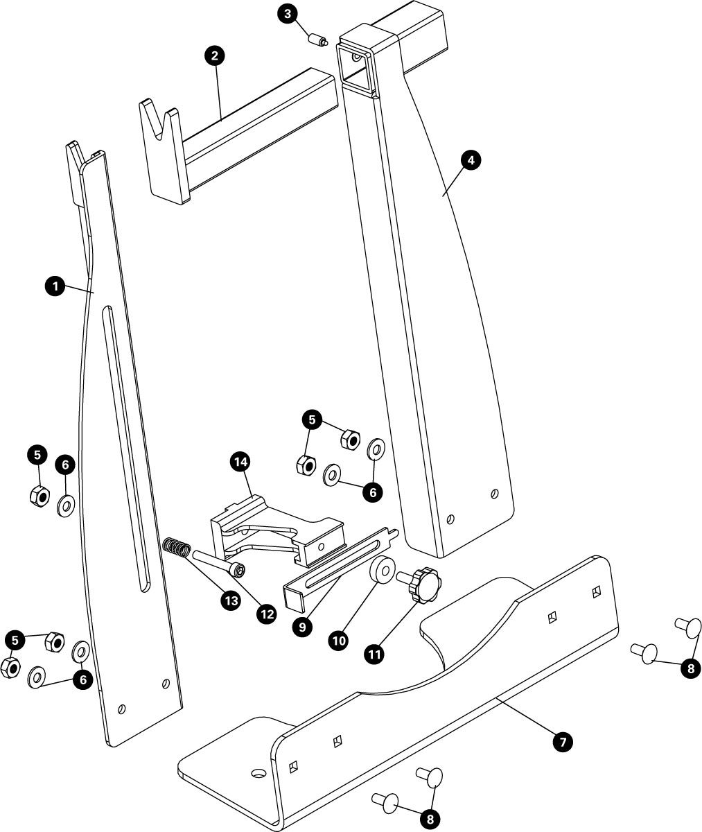 Parts diagram for TS-8 Home Mechanic Wheel Truing Stand, click to enlarge