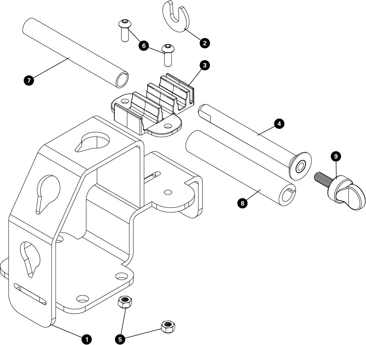 Parts diagram for WH-1 Wheel Holder, click to enlarge