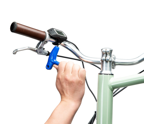 PH-3 3 mm hex wrench tightening a bolt on an e-bike computer, click to enlarge