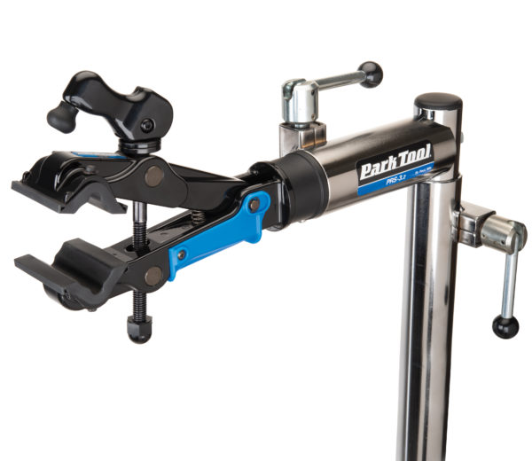 The Park Tool 100-3D Professional Micro-Adjust Clamp attached to stand with cam released, click to enlarge