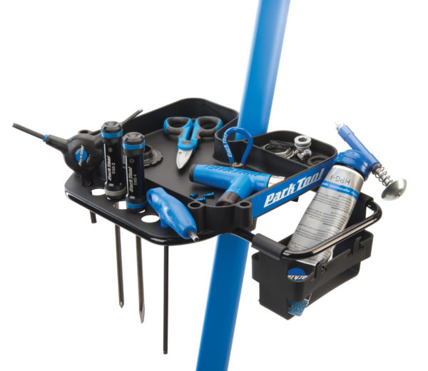The Park Tool 106 Work Tray attached to a Park Tool Repair Stand with Park Tool bike tools on it, click to enlarge