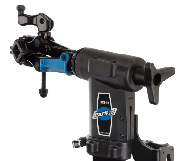 The Park Tool 100-25D micro-adjust clamp fully mounted in a PRS-15 repair stand using 1951-15 adaptor stud, click to enlarge