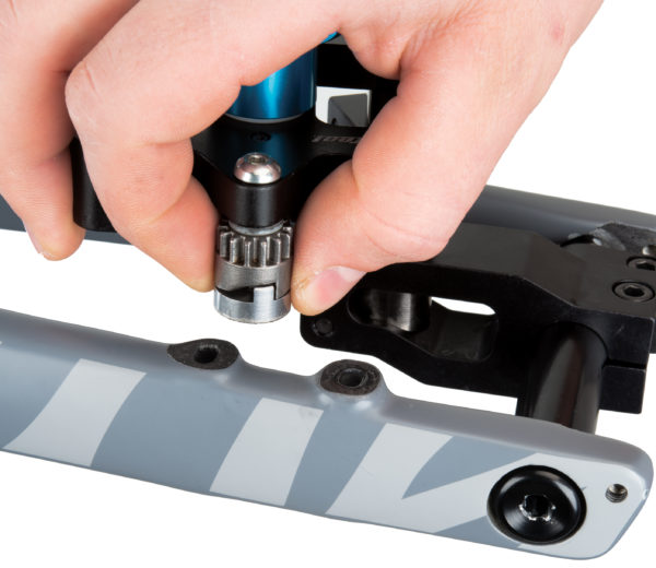 The Park Tool 2197 DT-5 / DT-5.2 Diamond Abrasive Adaptor for Carbon Fiber being installed onto DT-5.2 cutter, click to enlarge