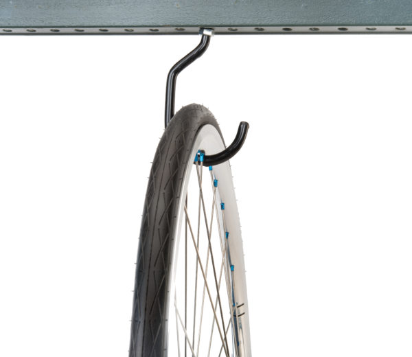 Park Tool 450 Machine Thread Storage Hook mounted to metal bar holding road bike wheel, click to enlarge