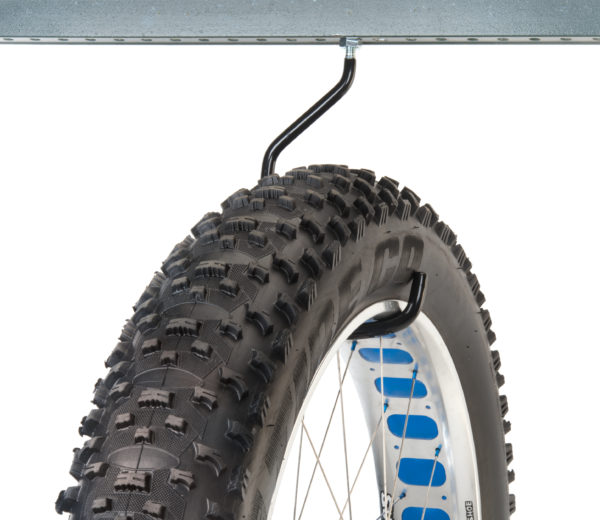 Park Tool 470 Machine Thread Extra-Large Storage Hook mounted to metal bar, holding fat bike wheel, click to enlarge