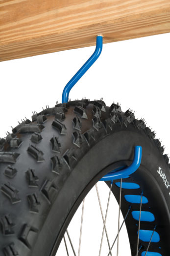 The Park Tool 471, Extra-Large Storage Hook — Wood Thread holding fat tire bike wheel, click to enlarge