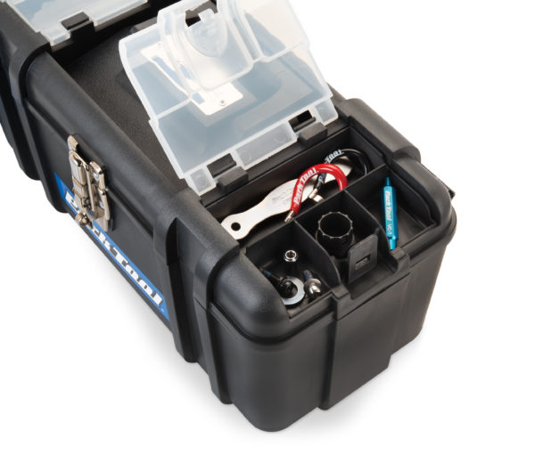Close-up of storage compartments on Park Tool AK-5 Advanced Mechanic Tool Kit box, click to enlarge