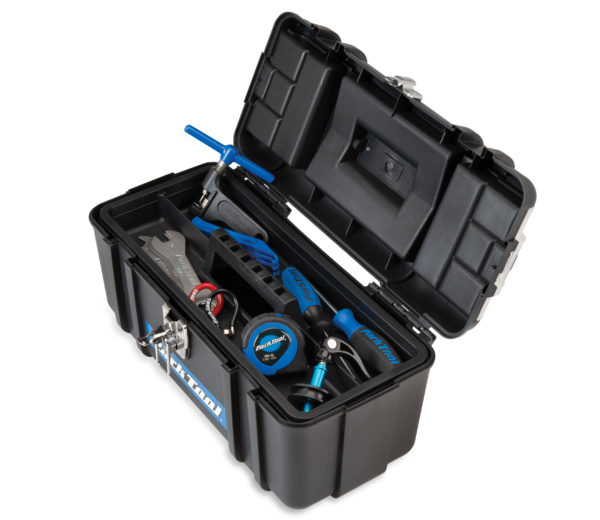 Contents of Park Tool AK-5 Advanced Mechanic Tool Kit inside box with inner tray in place, click to enlarge