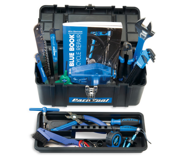 Contents of Park Tool AK-5 Advanced Mechanic Tool Kit in box with inner tray removed, click to enlarge