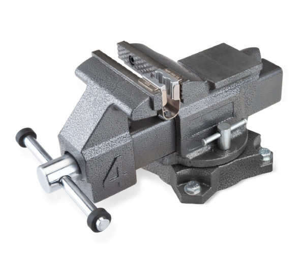 The Park Tool AV-1 Axle Vise installed in a bench vise, click to enlarge