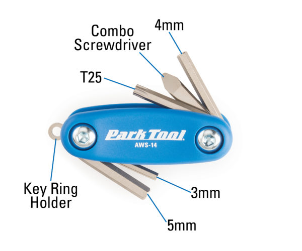The Park Tool AWS-14 Micro Fold-Up Hex Wrench Set measurements, click to enlarge