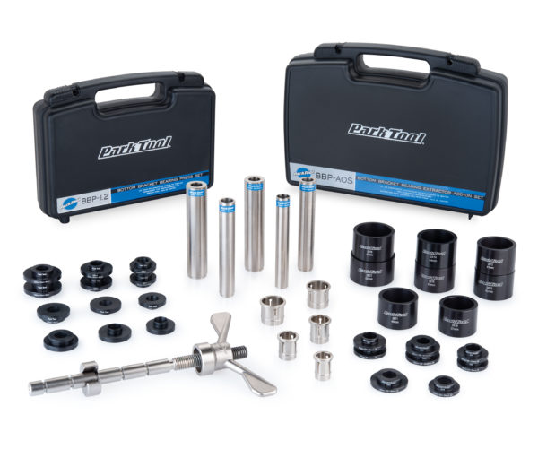 The Park Tool BBP-2 Bottom Bracket Bearing Press & Puller Set showing included storage cases, click to enlarge