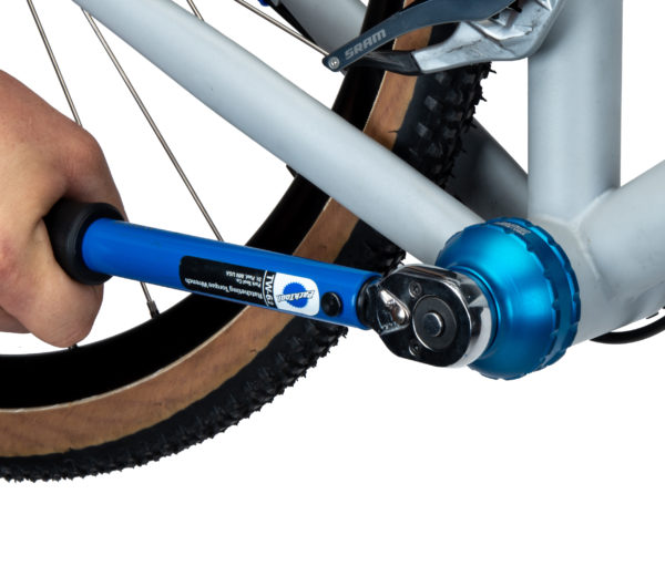 The Park Tool BBT-47-16 Bottom Bracket Tool being driven by a TW-6.2 torque wrench to secure a bottom bracket, click to enlarge