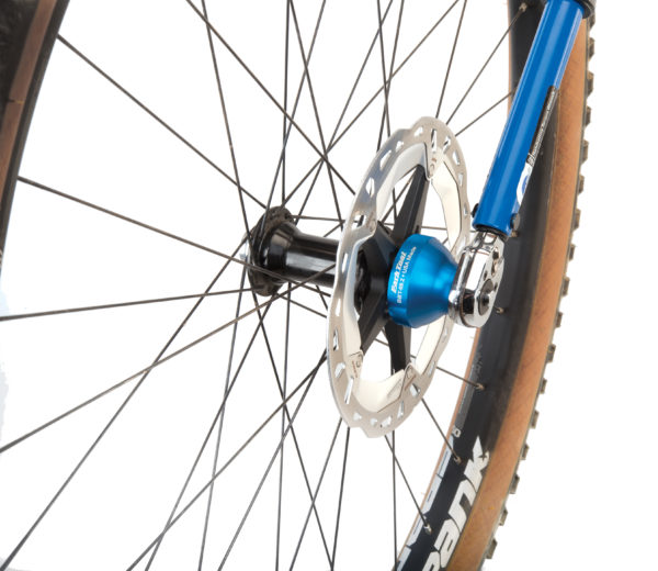 BBT-69.2 Bottom Bracket Tool driven by a torque wrench to secure disc rotor lockring on mountain bike wheel, click to enlarge