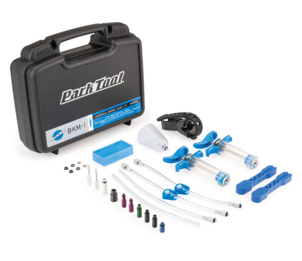 Contents of the Park Tool BKM-1 Hydraulic Brake Bleed Kit-Mineral displayed out in front of tool box, click to enlarge