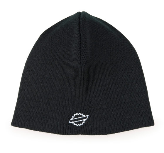 Front of the Park Tool BN-1 Black beanie hat with white outline of Park Tool logo, click to enlarge