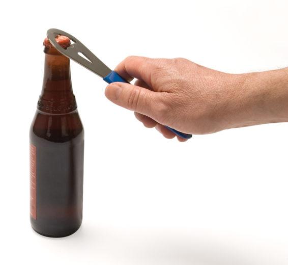 The Park Tool BO-2 Bottle Opener opening bottle, click to enlarge