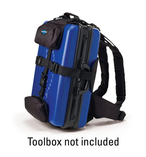 The Park Tool BXB-1 Backpack Harness for BX-1 with toolbox example, click to enlarge