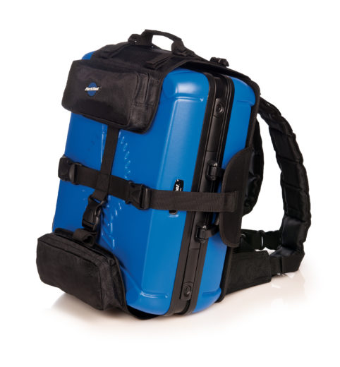 The Park Tool BXB-2 Backpack Harness for BX-2 with toolbox example, click to enlarge