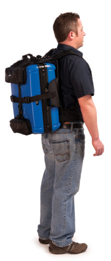 The Park Tool BXB-2 Backpack Harness for BX-2 on model, click to enlarge