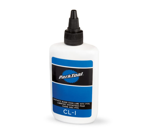 Bottle of Park Tool's CL-1 Synthetic Blend Chain Lube with PTFE, click to enlarge