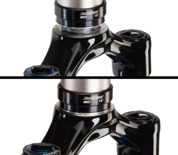 Crown race before and after being installed onto fork using the Park Tool CRS-15.2 Crown Race Setting System, click to enlarge