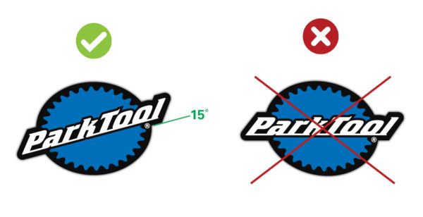 Diagram showing the correct logo placement for the Park Tool stacked logo, click to enlarge