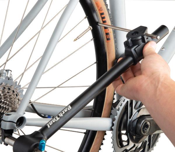 The Park Tool DAG-3 Derailleur Hanger Alignment Gauge measuring alignment on gravel bike, click to enlarge