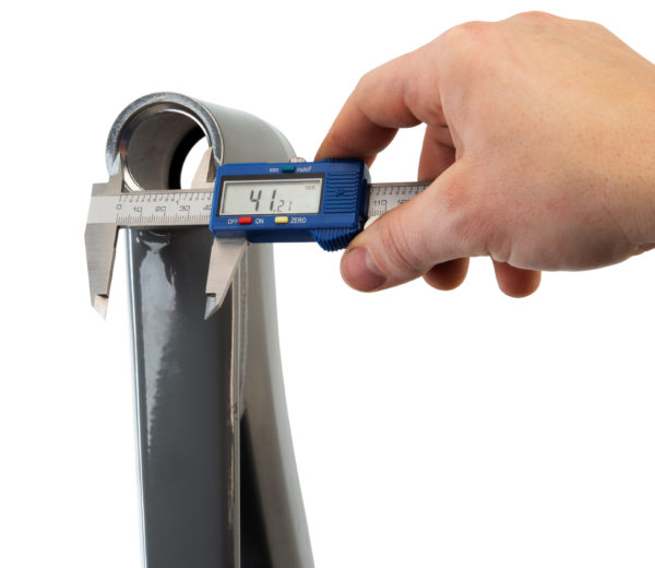 The Park Tool DC-1 Digital Caliper measuring the diameter of an upper headset bearing seat, click to enlarge