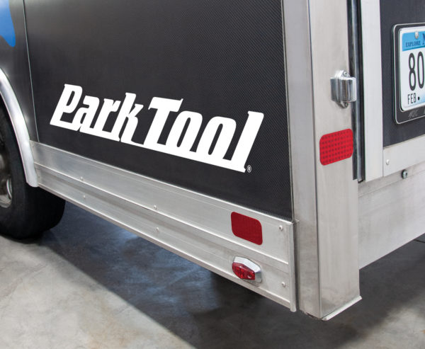 Corner of the Park Tool trailer with the Park Tool logo, click to enlarge