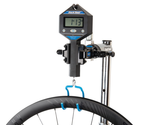 The Park Tool DS-1 Digital Scale weighing a carbon fiber bicycle wheel, click to enlarge